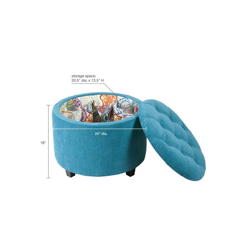 Sasha Round Blue Storage Ottoman  (Shoe Holder Insert)
