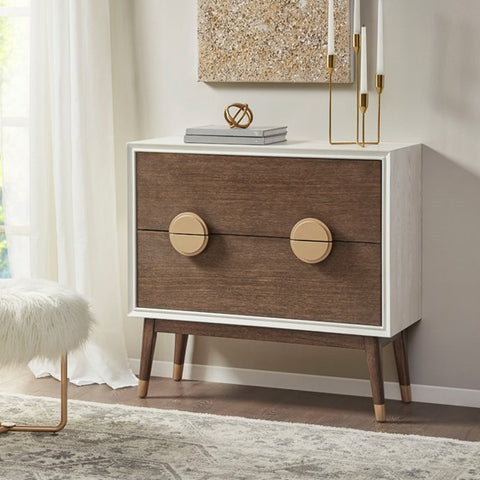Caterina 2-Drawer Cream Pecan Accent Chest (Almost Gone)