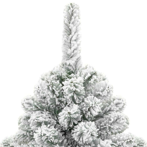 Image of 7.5 Foot Easy Set Up Snow Flocked Faux Pine Christmas Tree with Metal Stand