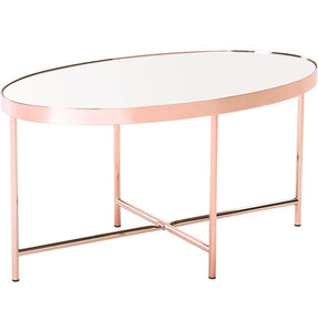 Xander - Copper Coffee Table with Mirror Top - Oval