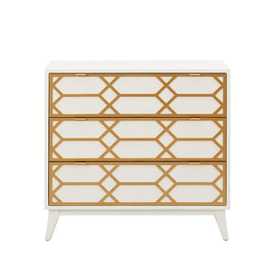 Maria Gold Lattice White Accent Chest