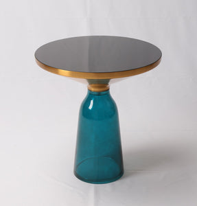 Karin Table Side Table - Gold & Blue