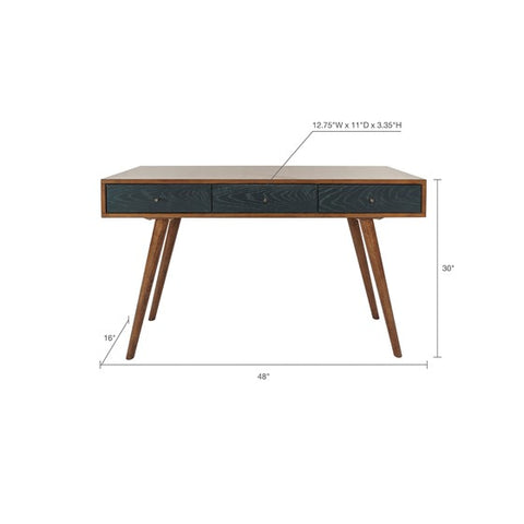 Image of Rigby 3 Drawer Blue Pecan Writing Desk