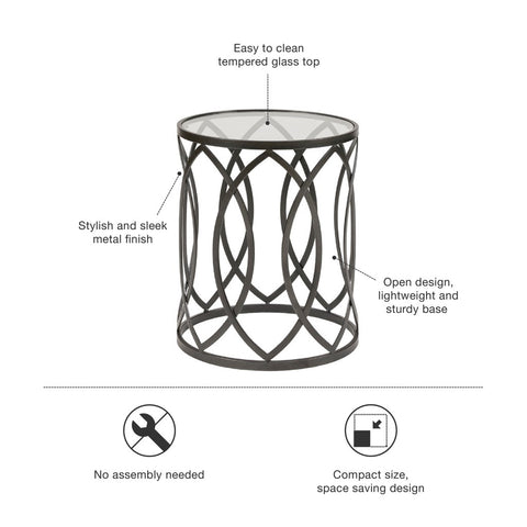 Image of Arlo Metal Eyelet White Accent Table