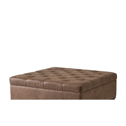 Image of Lindsey Tufted Brown Square Cocktail Ottoman