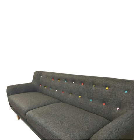 Image of Ebba 3-Seater Sofa - Grey (with multicolor buttons)