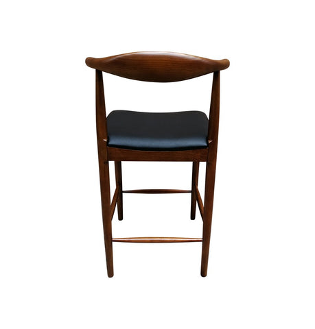 Image of CH20 Elbow Counter Stool - Walnut & Black Seat - Reproduction