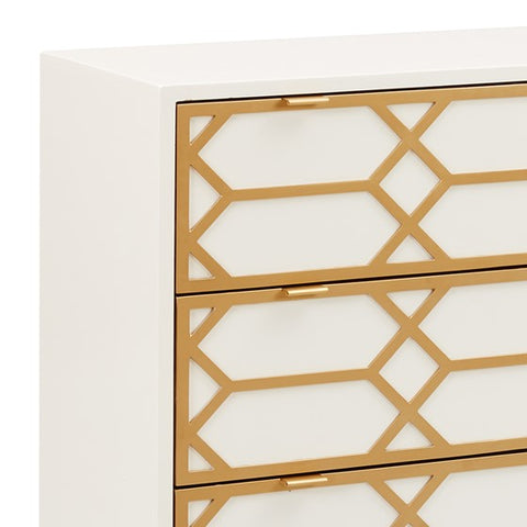 Image of Maria Gold Lattice White Accent Chest