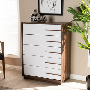 5-Drawer Mette Mid Century White Walnut Wood Chest