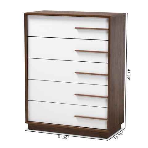 Image of 5-Drawer Mette Mid Century White Walnut Wood Chest