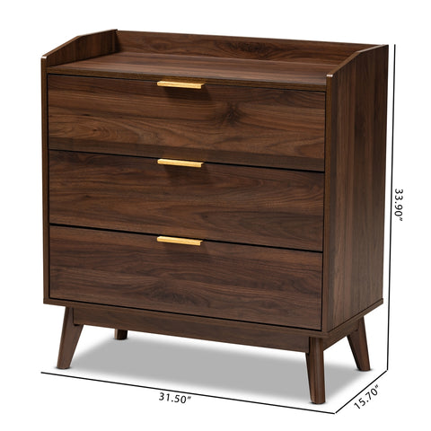 3-Drawer Lena Mid-Century Modern Walnut Brown Wood Chest