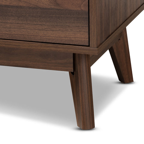 Image of 5-Drawer Lena Mid-Century Modern Walnut Brown Wood Chest