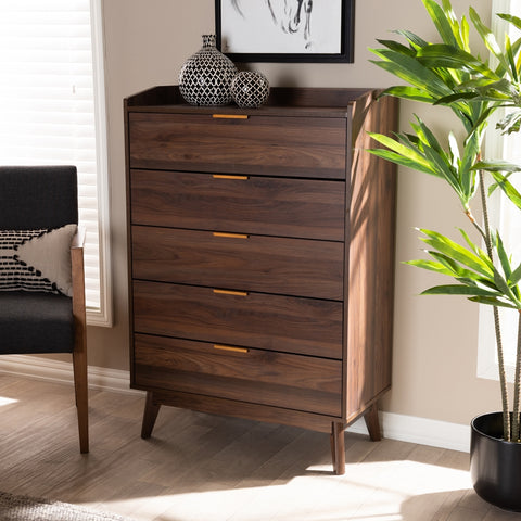 5-Drawer Lena Mid-Century Modern Walnut Brown Wood Chest