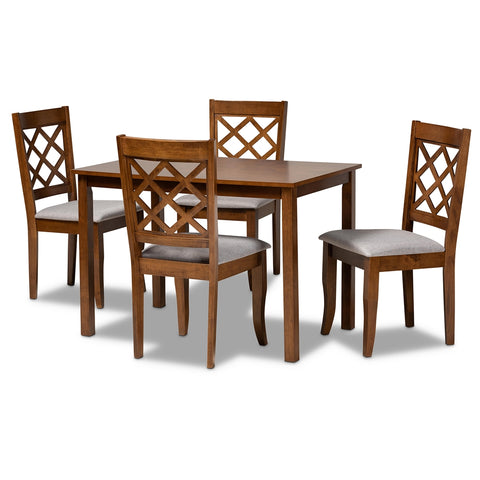 Image of 5-Piece Sari Contemporary Grey Upholstered Walnut Dining Set