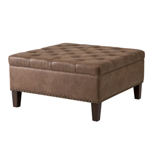 Lindsey Tufted Square Brown Cocktail Ottoman