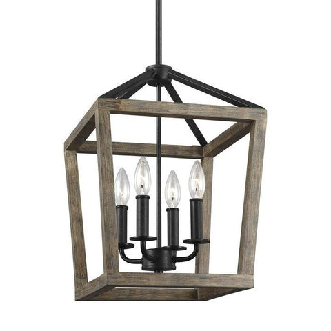 Image of 4 Light Lantern Adjustable Dimmable Square/Rectangle Chandelier