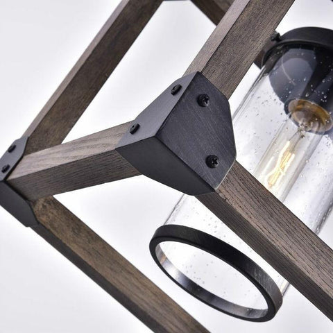 Image of 4 Light Adjustable Dimmable Rectangle Chandelier with Wrought Iron Accents