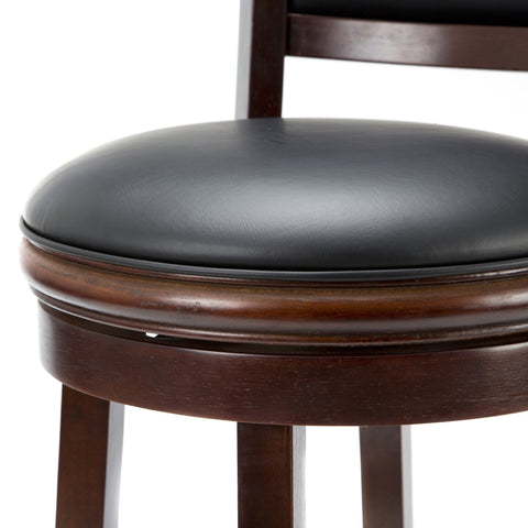 Image of Cherry 29-inch Solid Wood Bar Stool with Faux Leather Swivel Seat