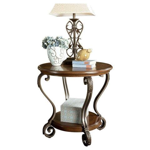 Accent End Table Nightstand in Brown Wood with Scrolling Metal Legs