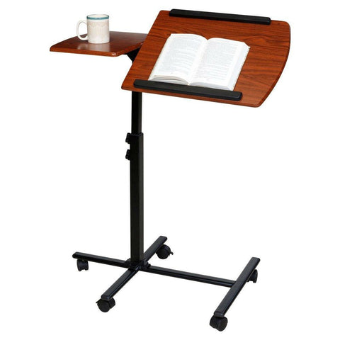 Adjustable Height Laptop Cart Computer Desk in Cherry Finish