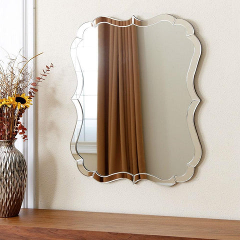 Image of Venetian Style Curvy Vanity Wall Mirror in Silver Finish