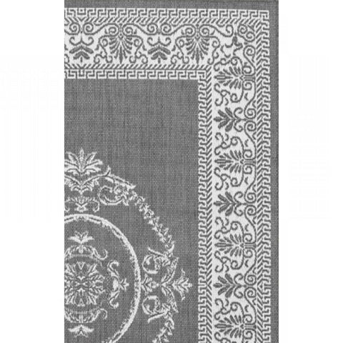 Image of 5'10 x 9'2 Grey White Medallion Indoor Outdoor Area Rug