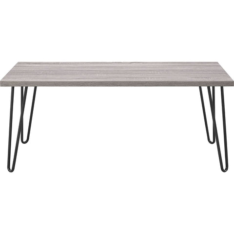 Image of Modern Classic Vintage Style Coffee Table with Wood Top and Metal Legs