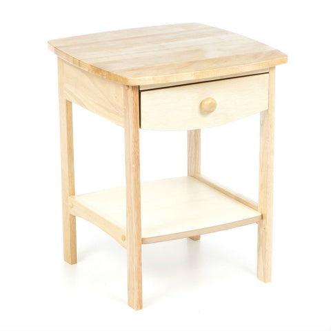 Image of Natural Wood Finish 1-Drawer Bedroom End Table Nightstand