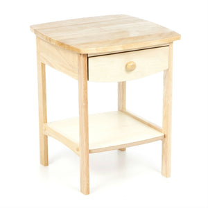 Natural Wood Finish 1-Drawer Bedroom End Table Nightstand