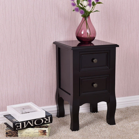 Image of Black Wooden 2-Drawer Accent End Table Nightstand