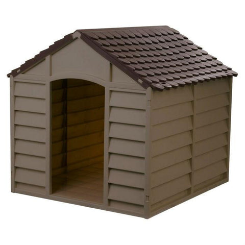 Image of Large Heavy Duty Outdoor Waterproof Dog House in Brown Polypropylene