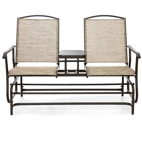 Image of Brown 2-Seater Outdoor Mesh Double Glider Tempered Glass Attached Center Table