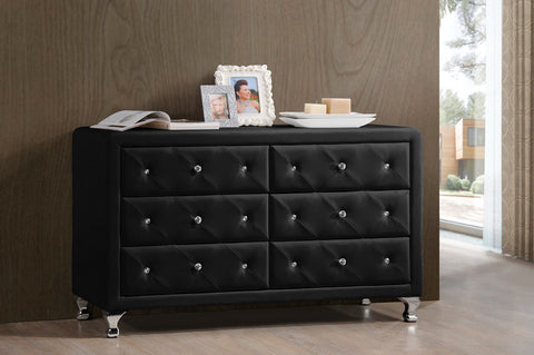 6-Drawer Set Baxton Studio Luminescence Wood Contemporary Upholstered Black