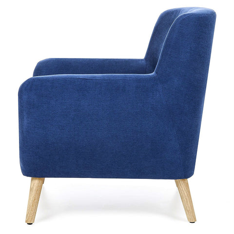 Image of Blue Linen Upholstered Armchair with Mid-Century Modern Style Wood Legs