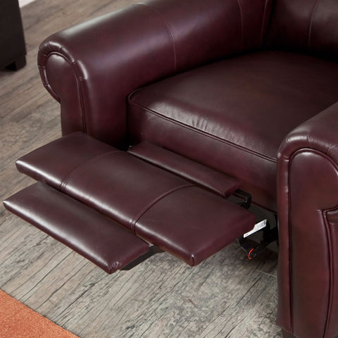 Image of Burgundy Top-Grain Leather Upholstered Wing-back Club Chair Recliner