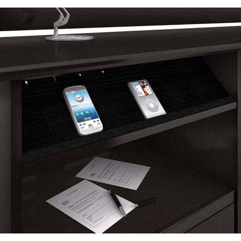 Image of L-Shaped Corner Computer Desk with File Drawer in Espresso Wood Finish