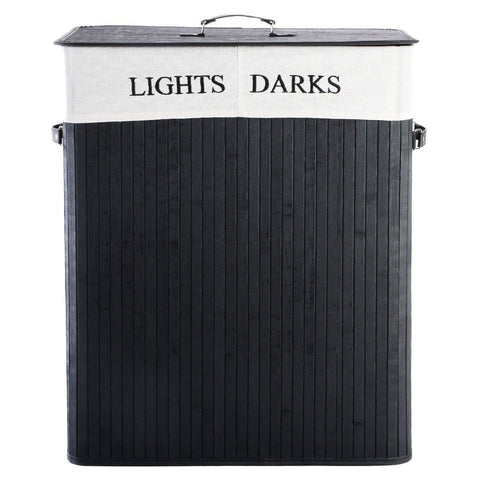 Black Bamboo 2-Bin Lights Darks Laundry Hamper with Handles
