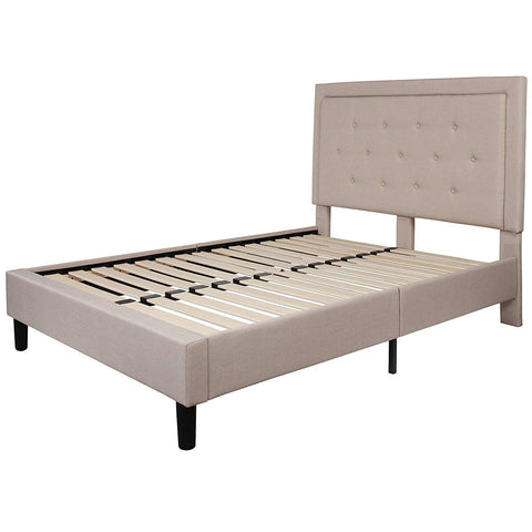 Image of Full Beige Fabric Upholstered Platform Bed Frame with Tufted Headboard