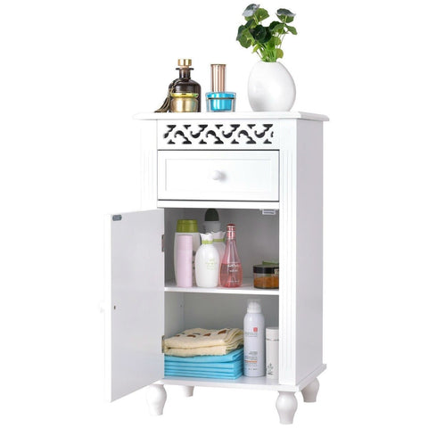 Image of White Floor Linen Cabinet Bathroom Storage Organizer