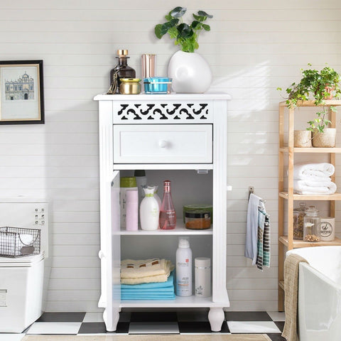 White Floor Linen Cabinet Bathroom Storage Organizer