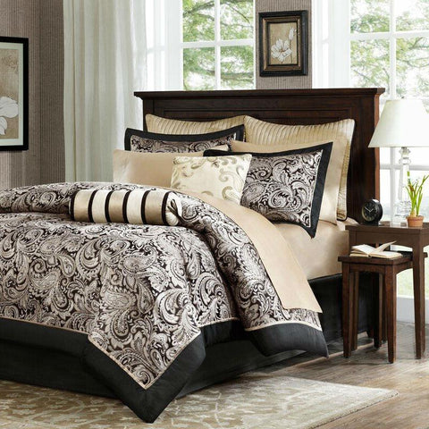 Image of Queen size Cotton 12-Piece Reversible Paisley Comforter Set in Black Gold