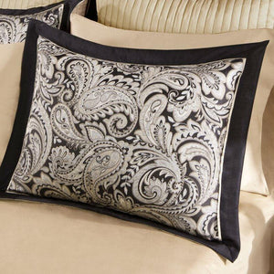 Queen size Cotton 12-Piece Reversible Paisley Comforter Set in Black Gold