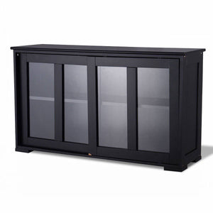 Black Sideboard Buffet Dining Storage Cabinet with 2 Glass Sliding Doors