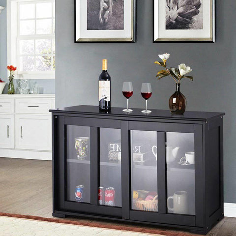 Image of Black Sideboard Buffet Dining Storage Cabinet with 2 Glass Sliding Doors