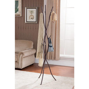 Metal Tree Branch Style Coat Rack with Multiple Hooks in Bronze