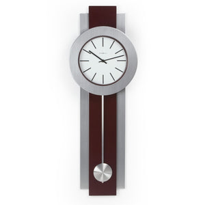 Modern Pendulum Style Wall Clock in Dark Merlot Cherry & Nickel