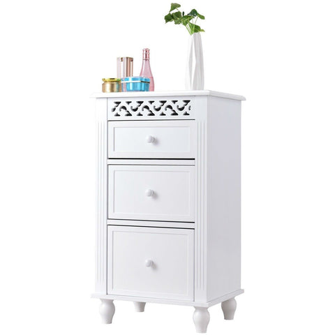 White 3-Drawer Bathroom Floor Linen Cabinet