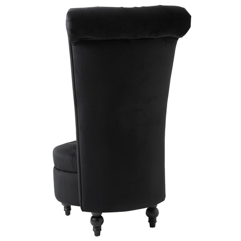 Image of Black Tufted High Back Plush Velvet Upholstered Accent Low Profile Chair