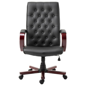 Black Wooden Faux Leather Adjustable High Back Executive Home Office Chair