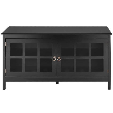 Image of Black Wood Entertainment Center TV Stand with Glass Panel Doors
